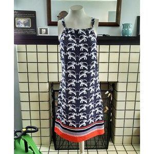 NWT Crown & Ivy Elephant Print Tie Back Dress